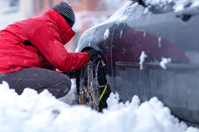 Winter driving safety, knowing how to put chains on, snow, winter safety tips.